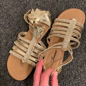 Gold with silver rhinestone Sandals